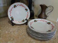 Vtg Christmas China Poland Walbrzych Ribbon Holly Dessert Salad Plates (8)