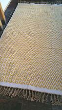 Ochre Premium Quality Mustard Chevrons Rugs Reversible Cotton Medium Very Large