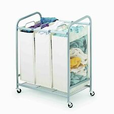 Metal Rolling Laundry Hamper- 3 bags with casters