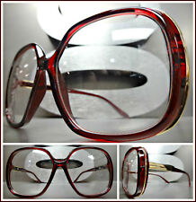 Oversized Vintage Retro Style Clear Lens EYE GLASSES Red & Gold Fashion Frame
