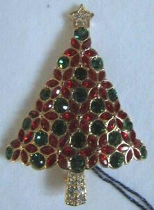 Swarovski 2003 Swan Signed Poinsettia Christmas Tree Brooch Pin NIB