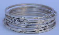 Vintag Mexican sterling silver bangle bracelets set of 6 lot taxco mexico signed