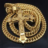 Gold tone Cross Christ Jesus Pendant Stainless Steel Necklace Heavy Men Jewelry