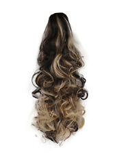 """17"""" PONYTAIL Clip in Hair Extensions CURLY Dark Brown/Blonde Mix #4/613 REVERSE"""