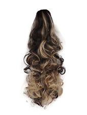 "17"" cola de caballo pieza de pelo con broche de Mezcla Rubia Rizada Marrón Oscuro/#4/613 clip de la Garra"