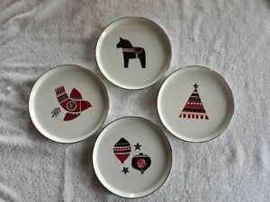 PROJECT 62 Set of 4 Christmas Scandinavian Holiday Porcelain Appetizer Plates