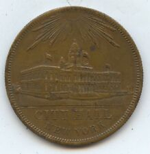 Exonumia 1856 City Hall Ny Token (#8002) In Unitate Fortiduto $20 Token Spiel