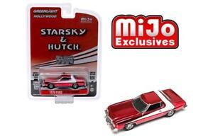 """GREENLIGHT MIJO 1976 FORD GRAN TORINO CHROME RED """"STARSKY & HUTCH"""" 1/64 51224"""