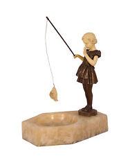 99937913-dss Bronze Resin Figur Fischendes Mädchen auf Schale 19x30x29cm