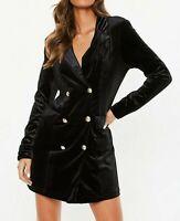 MISSGUIDED Black Double Breast Velvet Blazer Dress  UK 10 US 6 EU 38  (camg211)