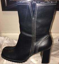 PREDICTIONS women's black faux leather boots, US size 8. Square toe