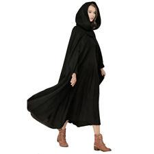 Winter Womens Casual loose Hooded Wool Blend Long Cape Cloak Poncho Coat Stylish