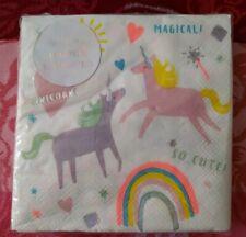 "Meri Meri Unicorn Paper Napkins Party 10"" x 10"""
