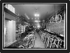OLD PHOTO OF BIKE SHOP REPRODUCED ON ALUMINUM  9 X 12 SIGN  Wall Decor - NEW