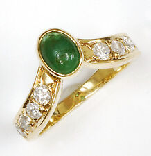 14k Oval Emerald Ring with 8 Diamonds - Vintage!