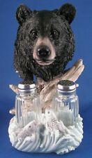 Black Bear Salt & Pepper Shaker Holder Grizzly Resin New Dining Kitchen Tabletop