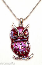 Anna Nova Jewellery Silver & Red Owl Pendant Necklace, Red Diamante Eyes 5500