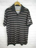 Adidas Men's size Large Black and Red Striped Athletic Golf Polo Budweiser Logo