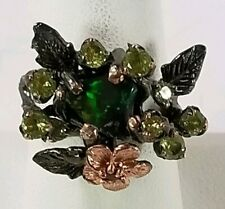 Rare Rough Natural Black Opal 925 Sterling Silver Ring Size 8.25