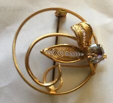 with clear stone Pretty Gold toned Brooch