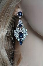Dark Blue Montana & Clear Crystal Chandelier Earrings (Sparkle-2486)
