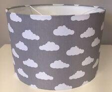 Grey And White Cloud Lampshade Handmade In 30cm Drum, Babies Nursery, Bedroom