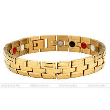 Cool Men's 4 in 1 Healthy Bio Magnetic Energy Therapy Stainless Steel Bracelet