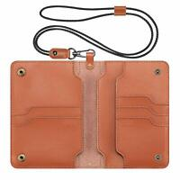 Passport Holder Cards Case Leather Cover Travel Wallet with Lanyard