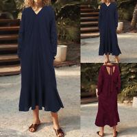 Mode Femme Robe Plissé Manche Longue Coton Bouffant Loisir Dresse Maxi Plus