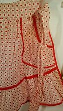 Apron Handmade 1/2  Red Polka Dot 1960's  51 inch Waist