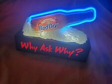Bud Dry Vintage Blue Neon Beer Sign Bottle Ice Anheuser Busch 1993 Why Ask Why