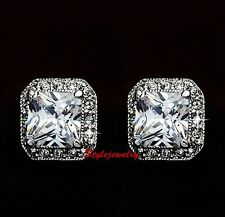 White Gold Filled Bridal Square Stud Earring Made With Swarovski Crystal XE23