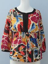 NYGARD Collection Petites Size 6 Multi-Color Round Neckline 3/4 Sleeve Blouse