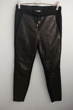 Witchery Leather Front Slant Pockets Elasticised Tie Waist Black Pants sz 6