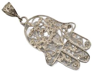 Hamsa Hand Pendant 925 Sterling Silver Diamond Cut Good Luck and Protection # 3
