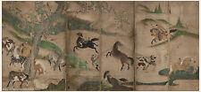 Japanese screen painting Samurai horses Very big size 1 by Hasegawa touhaku