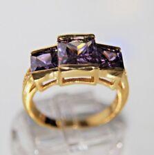 Amethyst lila violett Herren Damen Ring Gelbgold 18K GP(750)  Gr 58 Ø18,4mm ges