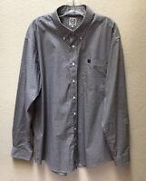 Mens Cinch Western Long Sleeve Button Front Shirt Size Large Blue Plaid