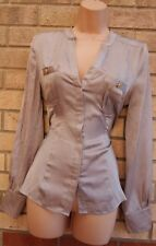 WAREHOUSE GREY TAUPE BUTTONED LONG SLEEVE FORMAL PARTY T SHIRT BLOUSE TOP 10 S