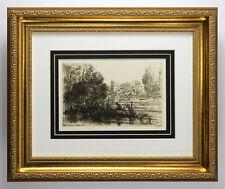 ORIGINAL Francis Seymour Haden 1800s Etching TWICKENHAM CHURCH Signed Framed COA