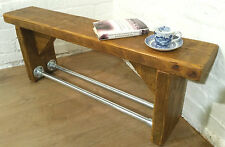 Industrial Scaffold Steel Pipe Rustic Reclaimed Pine Table Shoe Rack Shelf BENCH