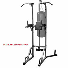 POWER TOWER & HEAVY BAG STAND COMBO DELUXE BLACK XMARK PULL UP DIP STATION NEW
