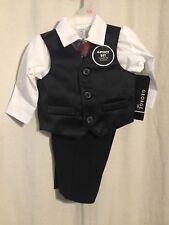 George Baby Boys 0-3 mth. 4 Piece Dress suit set, pin stripe vest