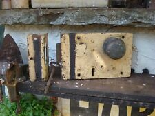 More details for antique  hobbs & co   large old rim lock  door knob with keep and key. vintage.