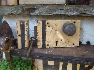Antique  Hobbs & Co   Large Old rim lock  Door Knob With Keep And Key. Vintage.