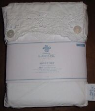 "Simply Shabby Chic TWIN White Vintage Embroidered Sheet Set ""Woodrose"" NEW !!!"