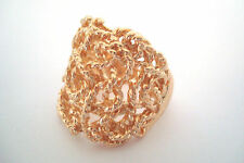 Gold Tone Squiggle Woven String Rope Style Statement Ring Size R