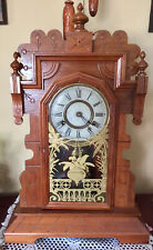 Refurbished Working Antique Gingerbread Wood Chime Kitchen Mantle Clock W/ Key