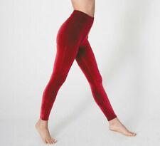 Red Velvet Velour Stretch Full Leggings Pants Christmas Goth Punk Emo Party
