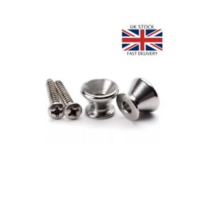 1 pair silver Guitar strap buttons pins holder lock screw bass ukulele. UK stock